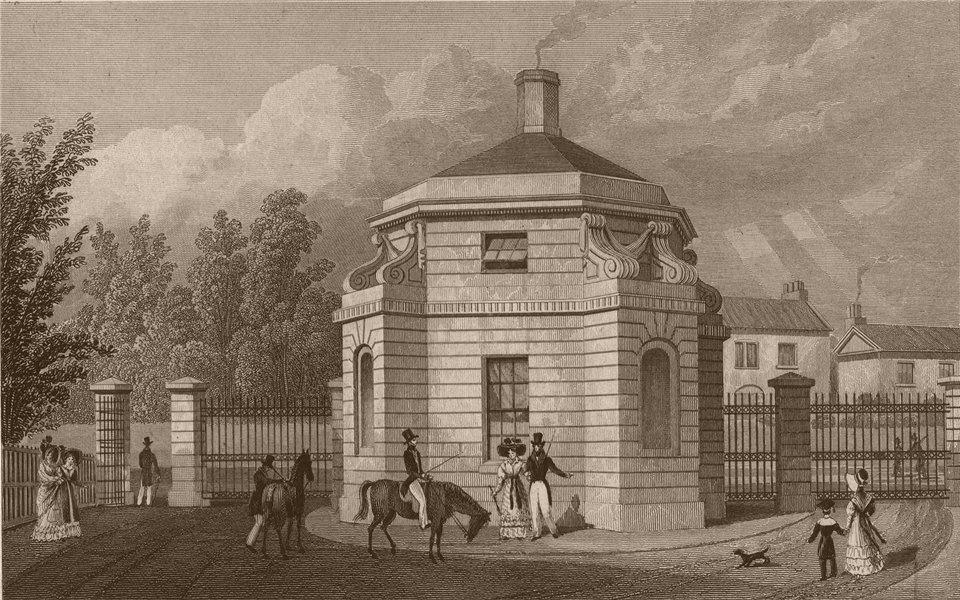 REGENT'S PARK. Hanover Gate. London. SHEPHERD 1828 old antique print picture