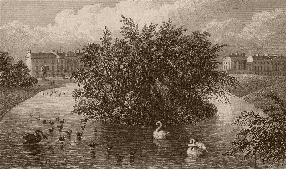 Associate Product REGENT'S PARK. Boating lake. Cornwall & Clarence Terraces. London. SHEPHERD 1828