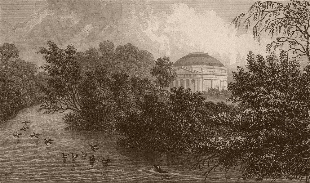 Associate Product REGENT'S PARK. The Colosseum (demolished 1874) & lake. London. SHEPHERD 1828
