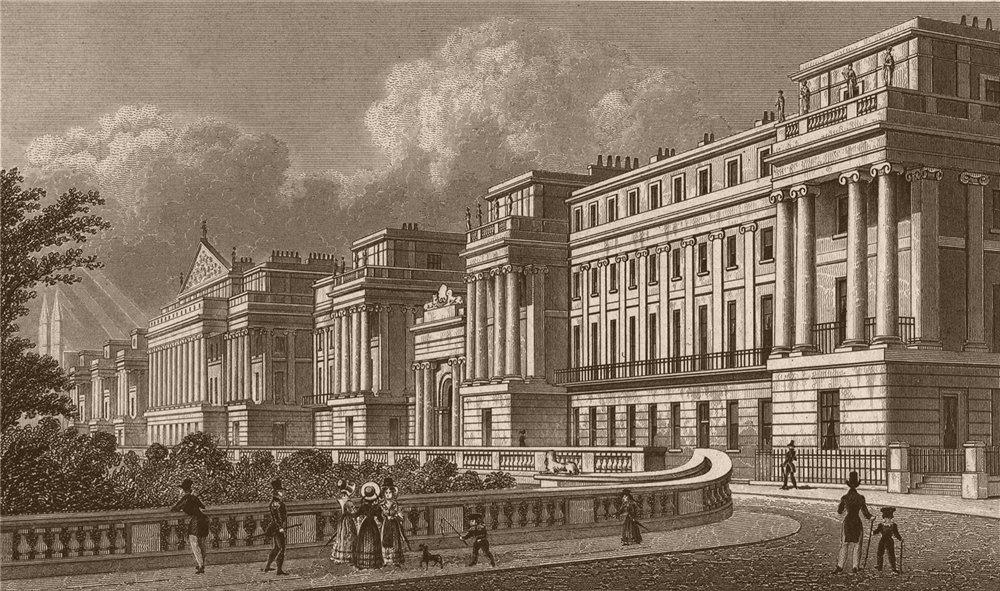 Associate Product Cumberland Terrace Regent's Park. London. SHEPHERD 1828 old antique print