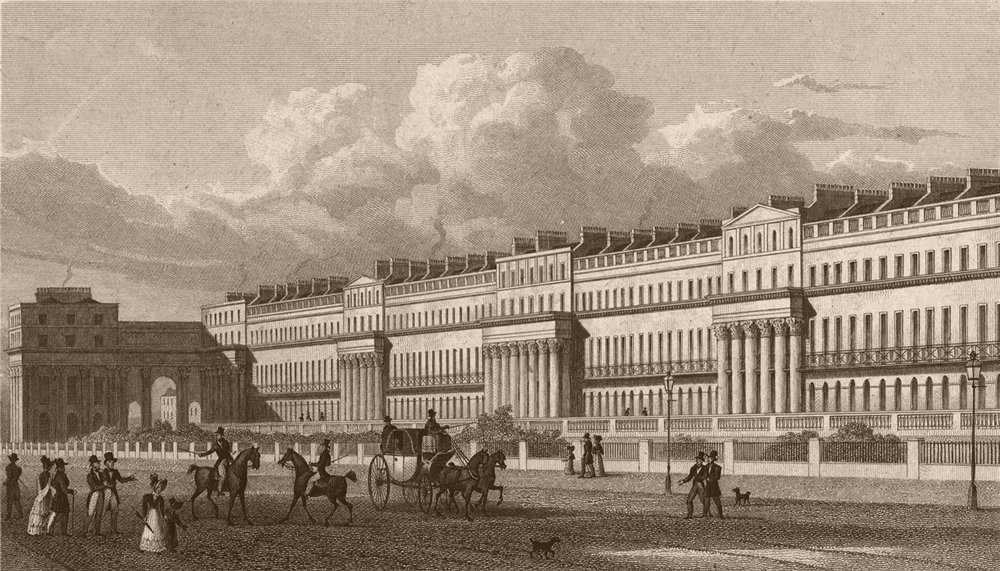Associate Product REGENT'S PARK. Chester Terrace. London. SHEPHERD 1828 old antique print