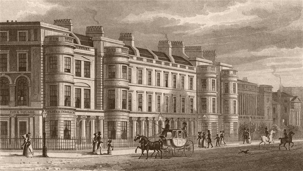 Associate Product REGENT'S PARK. Ulster Terrace. London. SHEPHERD 1828 old antique print picture