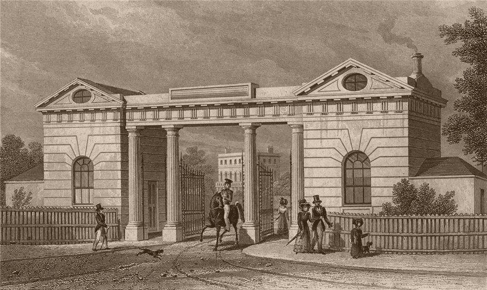 Associate Product REGENT'S PARK Gloucester (East) Gate Lodge. Joined together 1878. SHEPHERD 1828