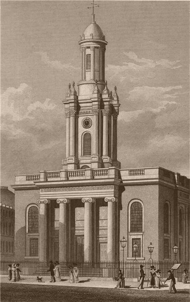 Associate Product MARYLEBONE ROAD. Holy Trinity Church. London. SHEPHERD 1828 old antique print