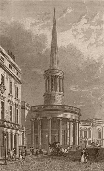 Associate Product LANGHAM PLACE. All Souls Church. London. SHEPHERD 1828 old antique print