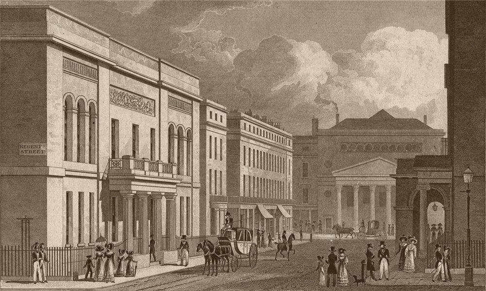Associate Product REGENT STREET United Service Military club Haymarket theatre Opera colonade 1828
