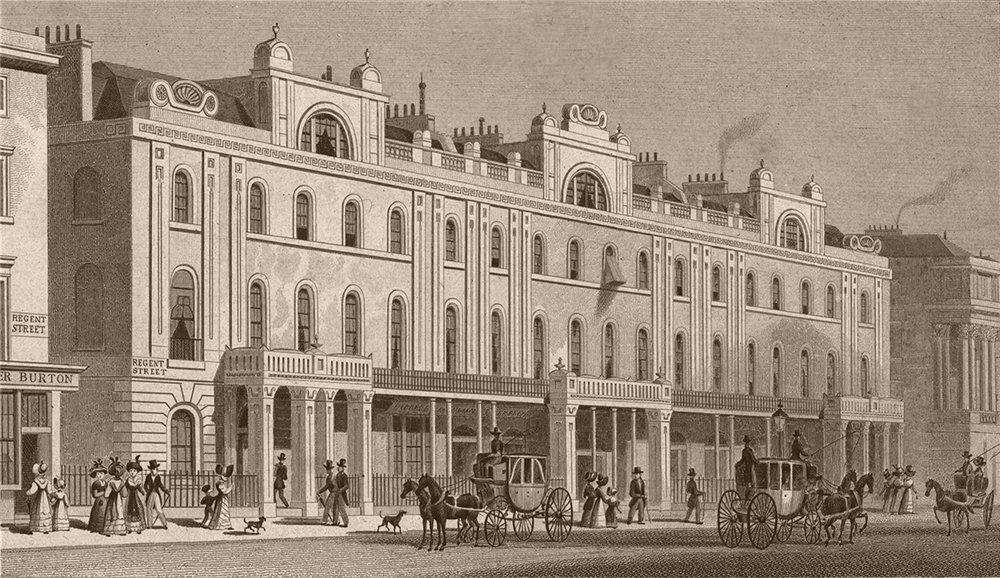 Associate Product REGENT STREET. Buildings on the East side. London. SHEPHERD 1828 old print