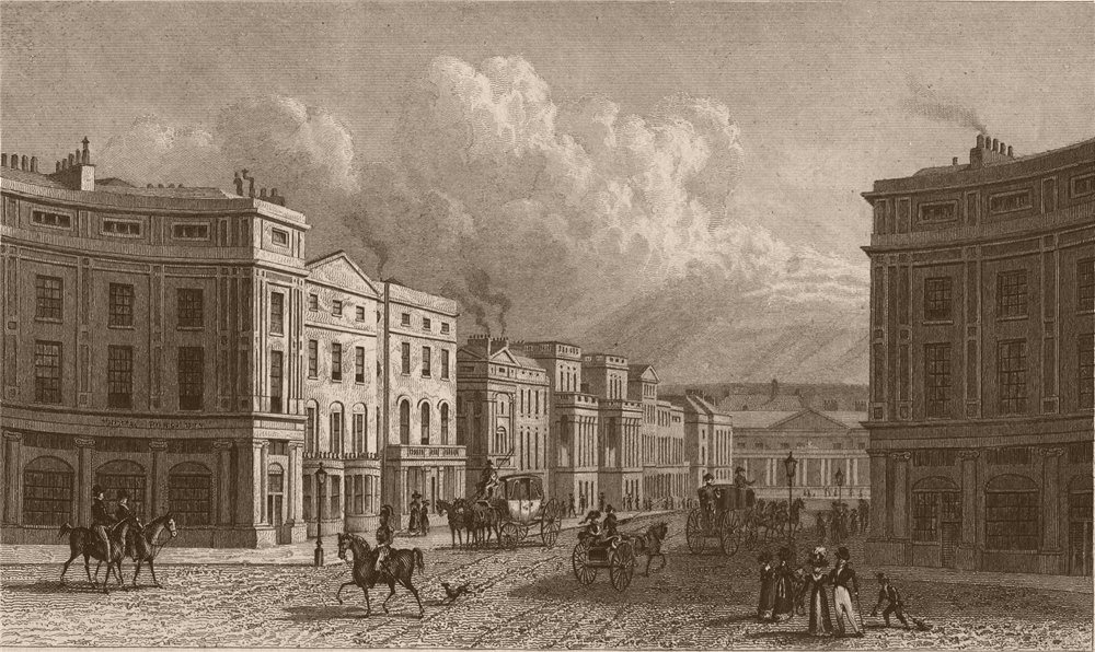 Associate Product REGENT STREET. View from Piccadilly Circus. London. SHEPHERD 1828 old print