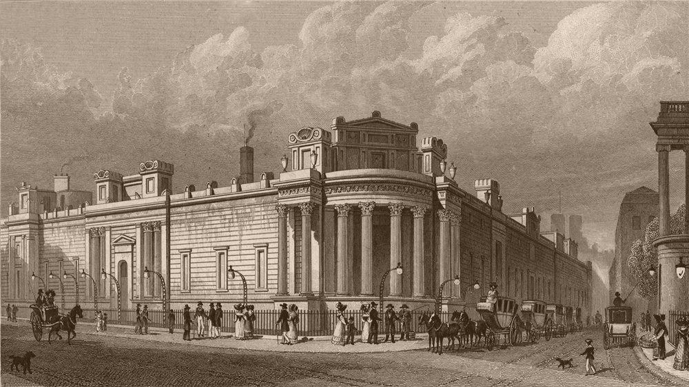 Associate Product BANK OF ENGLAND. North & west front from Lothbury. London. SHEPHERD 1828 print
