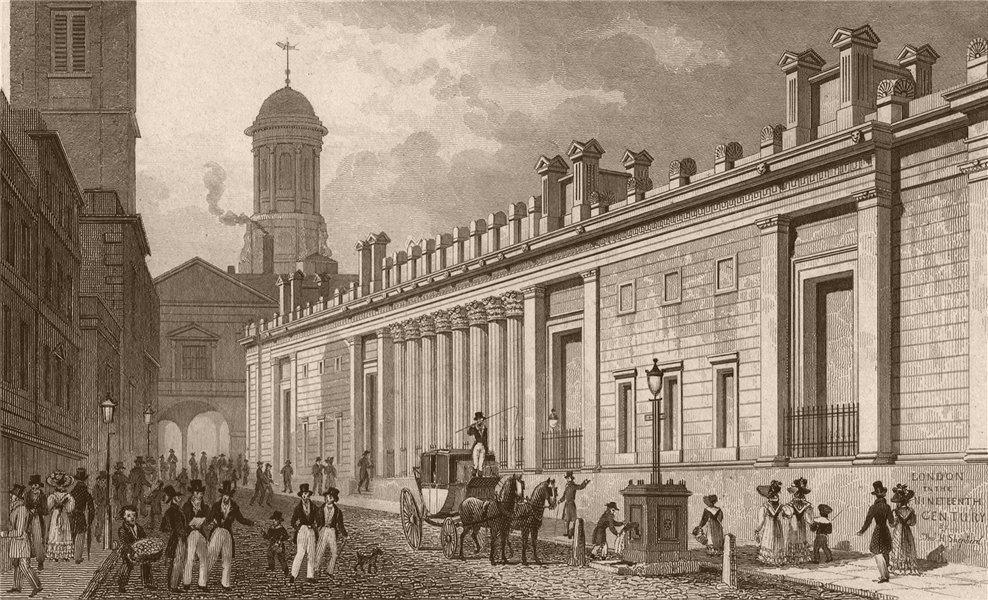 Associate Product BANK OF ENGLAND. East front & Royal Exchange. London. SHEPHERD 1828 old print