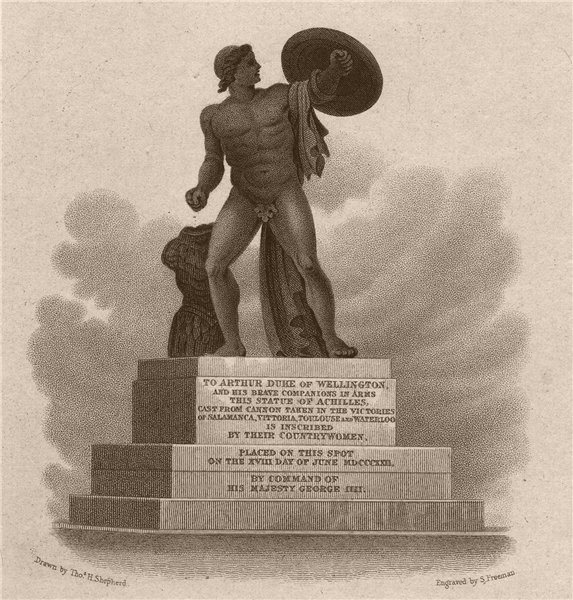 Associate Product HYDE PARK. Statue of Achilles. London. SHEPHERD 1828 old antique print picture