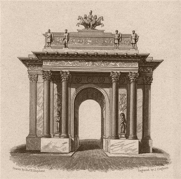 Associate Product MARBLE ARCH. Originally located outside Buckingham Palace. London. SHEPHERD 1828