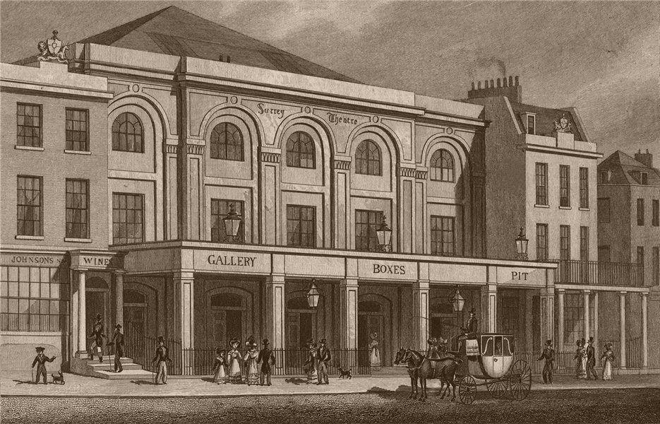 Associate Product LAMBETH. Surrey Theatre, Blackfriars Road. London. SHEPHERD 1828 old print