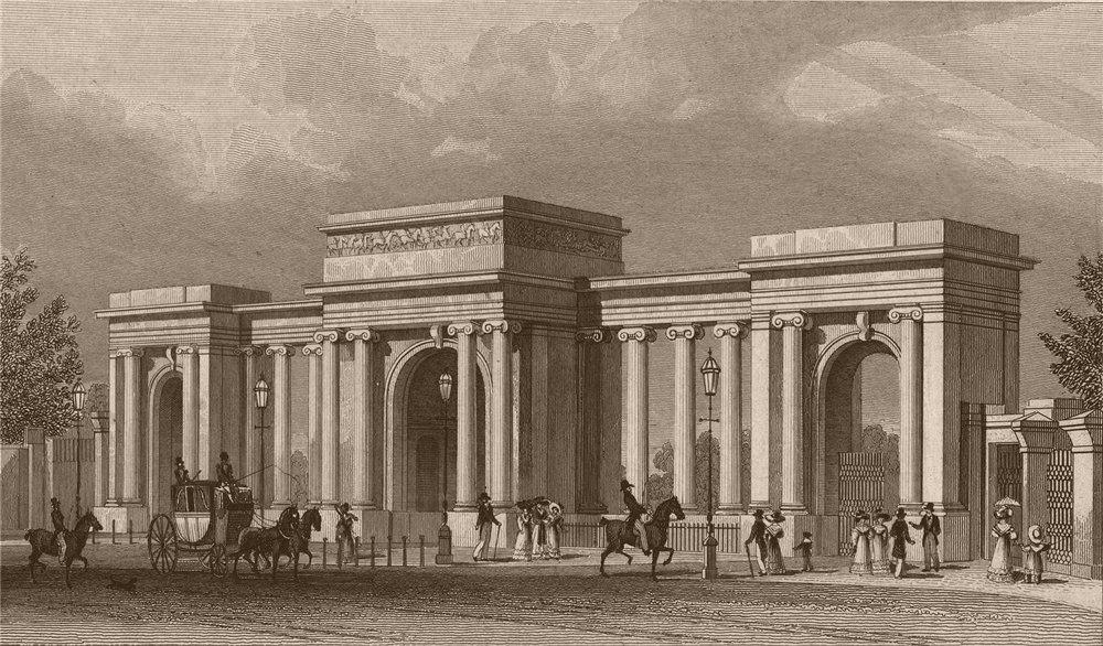 Associate Product HYDE PARK. Grand Entrance (Queen Elizabeth Gate). London. SHEPHERD 1828 print