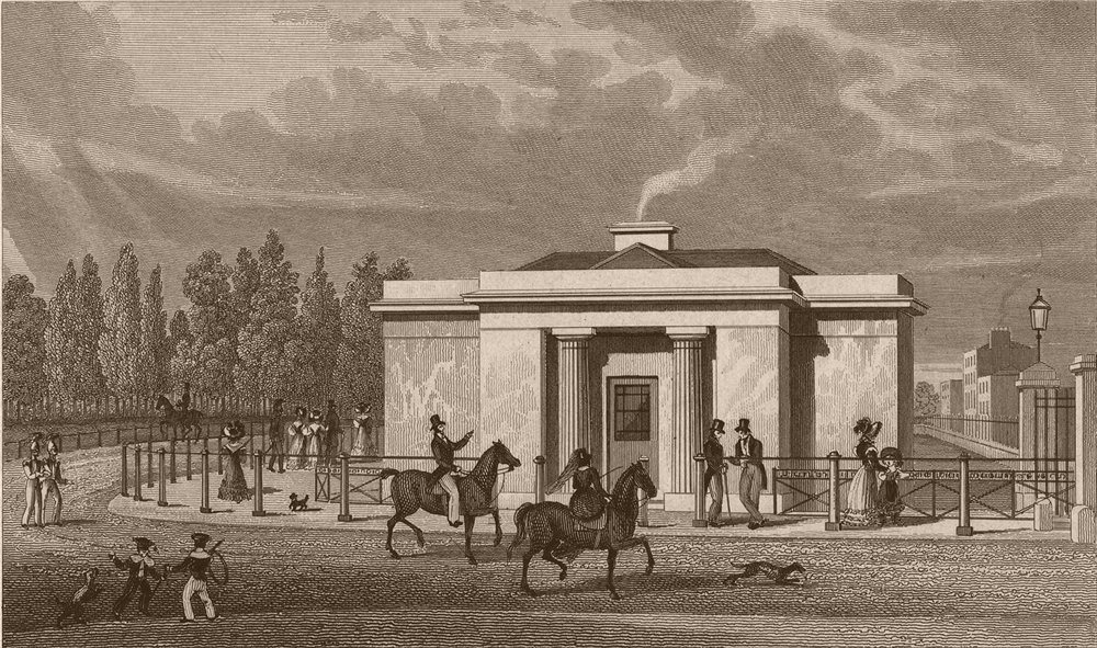 Associate Product HYDE PARK. One of the new lodges. London. SHEPHERD 1828 old antique print
