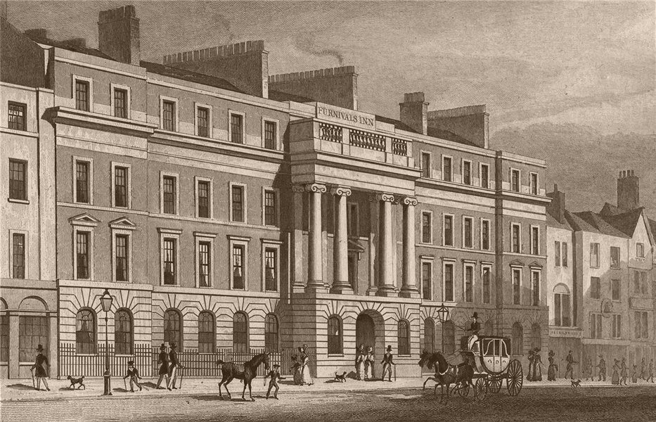Associate Product HOLBORN. Furnivals Inn. London. SHEPHERD 1828 old antique print picture