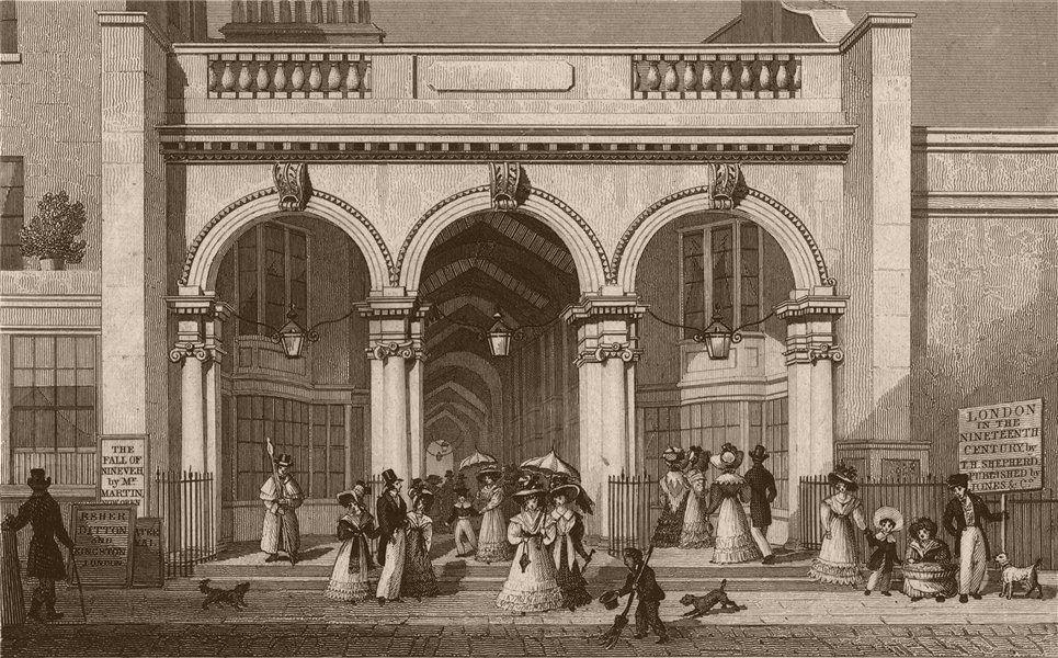 Associate Product PICCADILLY. Burlington Arcade. London. SHEPHERD 1828 old antique print picture