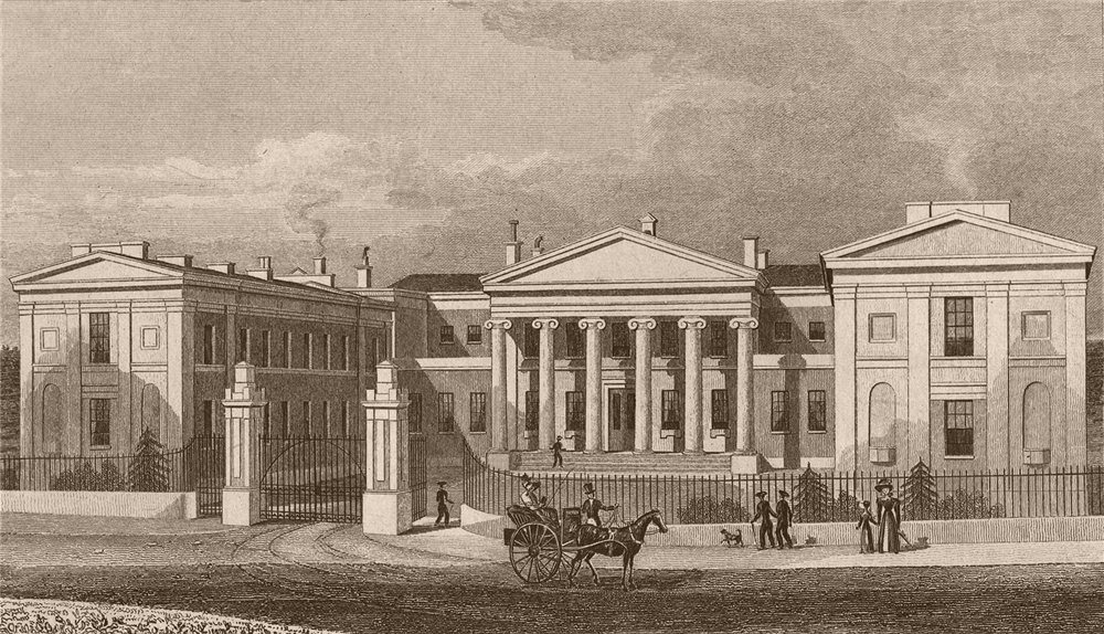 Associate Product SOUTH WEST FRONT. Highbury College. London. SHEPHERD 1828 old antique print