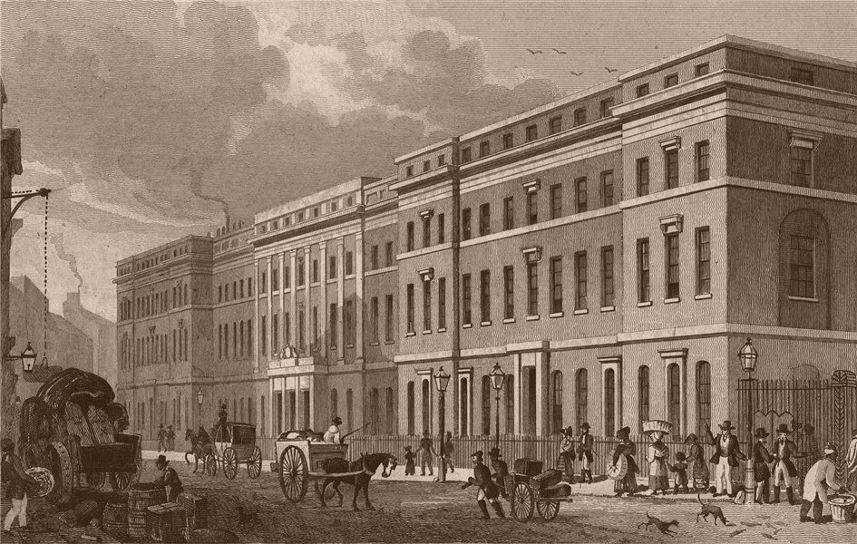 Associate Product FROM THAMES STREET. The Custom House. London. SHEPHERD 1828 old antique print