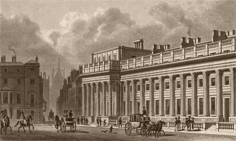 Associate Product WHITEHALL. The Treasury (Soane). London. SHEPHERD 1828 old antique print