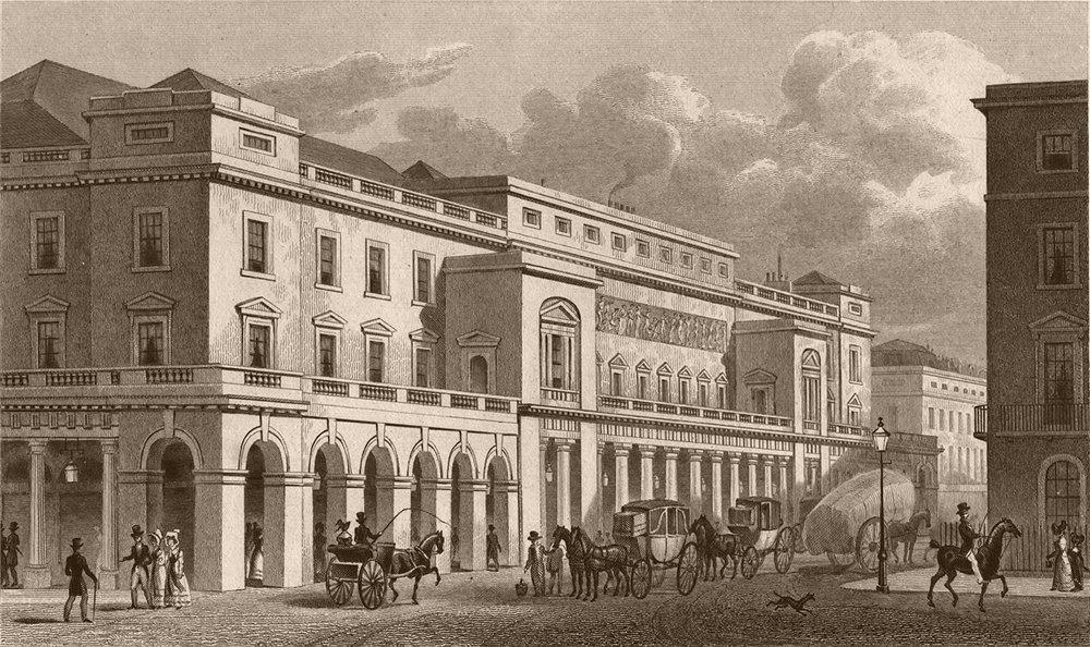 Associate Product HAYMARKET. Italian Opera House. London. SHEPHERD 1828 old antique print