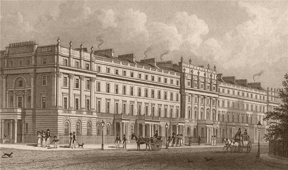Associate Product PIMLICO. North east side of Belgrave Square. London. SHEPHERD 1828 old print