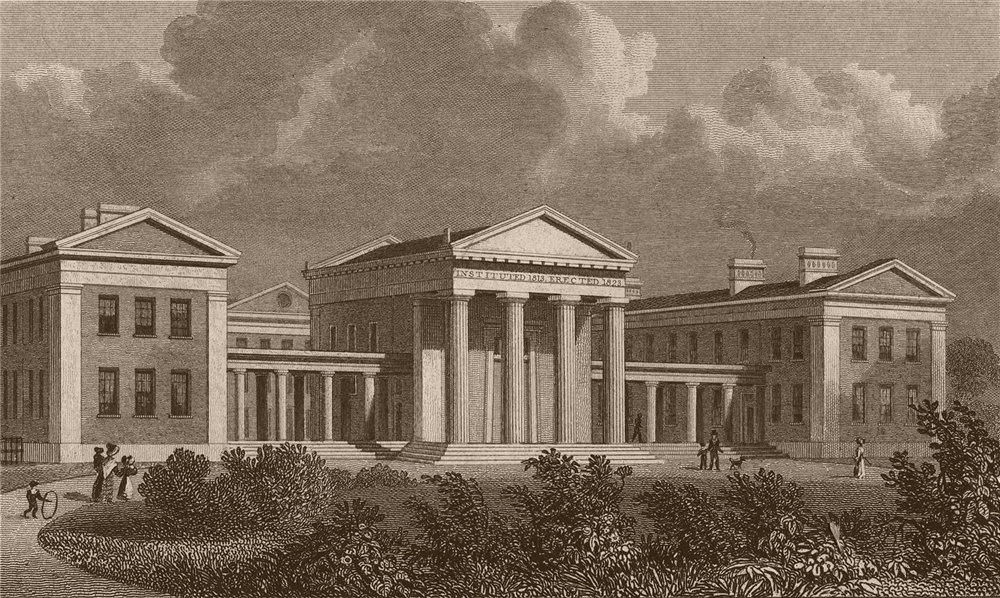 Associate Product CLAPTON. London Orphan Asylum. London. SHEPHERD 1828 old antique print picture