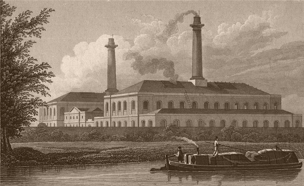 Associate Product ST PANCRAS. Gas works, Regent's Canal. London. SHEPHERD 1828 old antique print