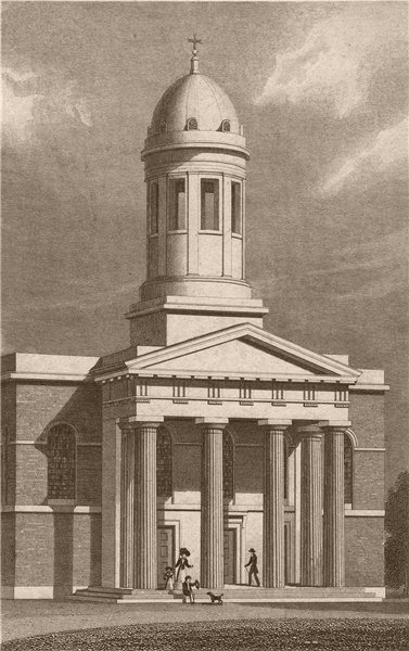 Associate Product WEST HACKNEY. Chapel of Ease. London. SHEPHERD 1828 old antique print picture