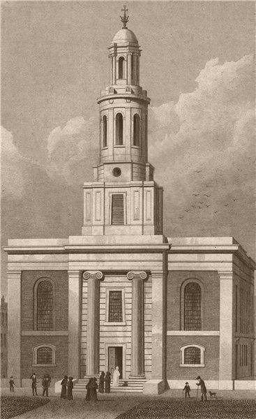 Associate Product HOXTON. St. John's Church. London. SHEPHERD 1828 old antique print picture