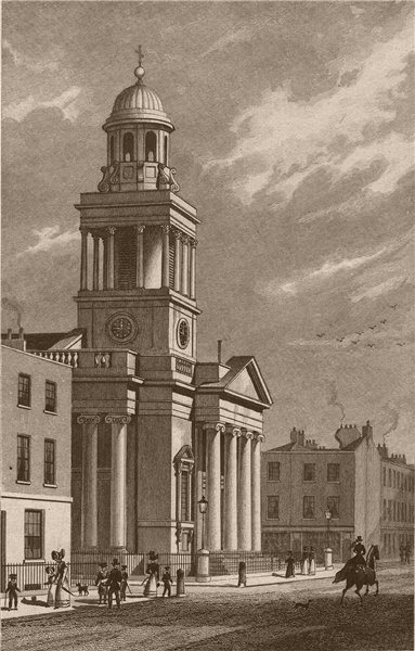 Associate Product LISSON GROVE Chapel of Ease, Stafford St/Christ Church, Cosway St. SHEPHERD 1828