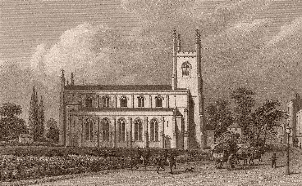 Associate Product KINGSLAND. St. Paul's Church, Balls Pond Road. London. SHEPHERD 1828 old print