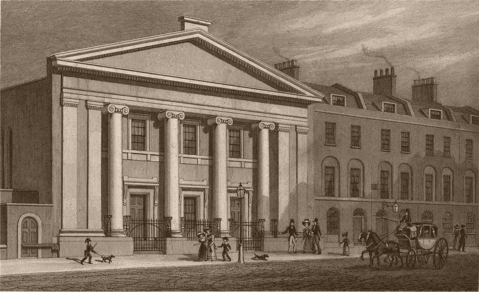 Associate Product FINSBURY. The Unitarian Chapel, South Place. London. SHEPHERD 1828 old print