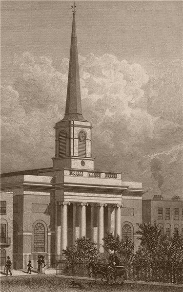 Associate Product FINSBURY. St. Barnabas, King Square. London. SHEPHERD 1828 old antique print