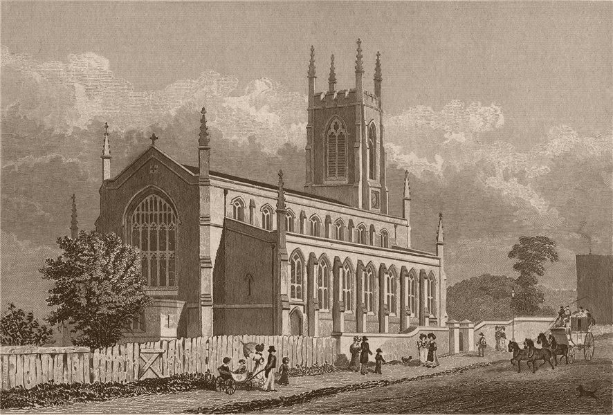 Associate Product HOLLOWAY. St. John's Church. London. SHEPHERD 1828 old antique print picture