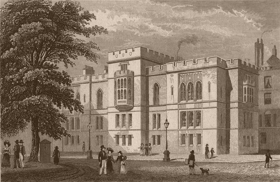 Associate Product TEMPLE. The New Library and Parliament Chambers. London. SHEPHERD 1828 print