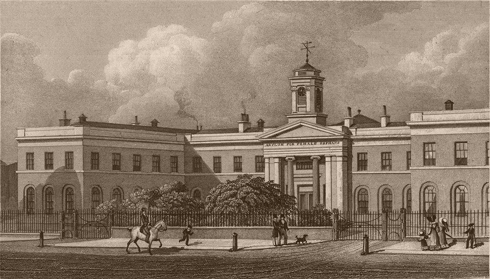 Associate Product WESTMINSTER. Asylum for female Orphans. London. SHEPHERD 1828 old print