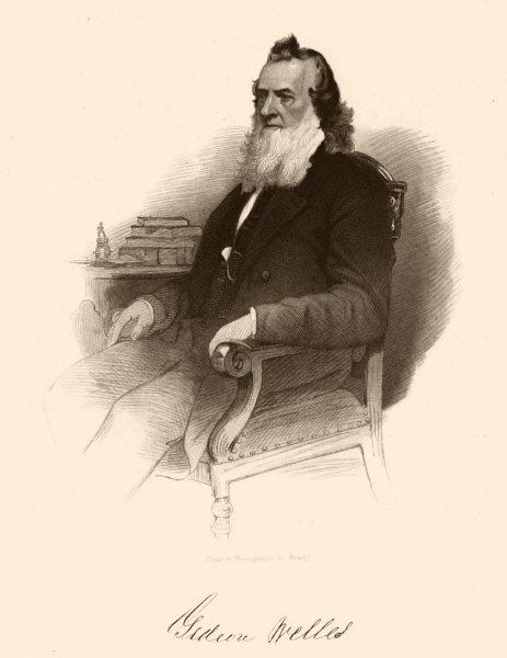 Associate Product AMERICAN CIVIL WAR. Portrait of Gideon Welles 1864 old antique print picture