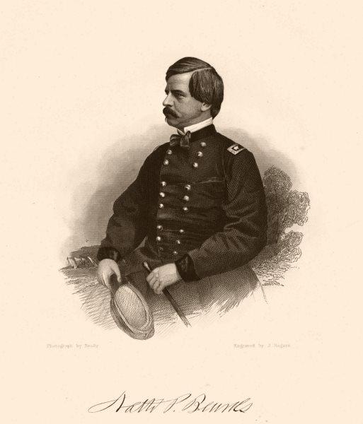Associate Product AMERICAN CIVIL WAR. Portrait of General Banks 1864 old antique print picture