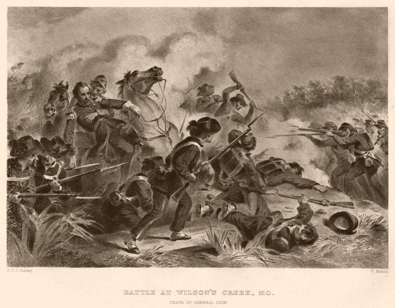Associate Product AMERICAN CIVIL WAR. Battle at Wilson's Creek. General Lyon's death.Missouri 1864