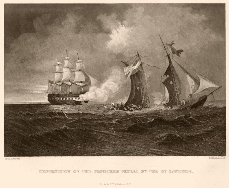 Associate Product AMERICAN CIVIL WAR. The Privateer Petrel destroyed by the St. Lawrence 1864