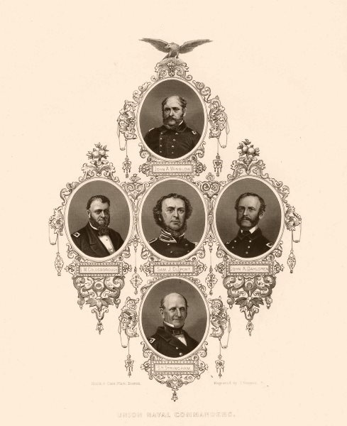 Associate Product AMERICAN CIVIL WAR. Admirals DuPont Goldsborough Dahlgren Stringham Winslow 1864