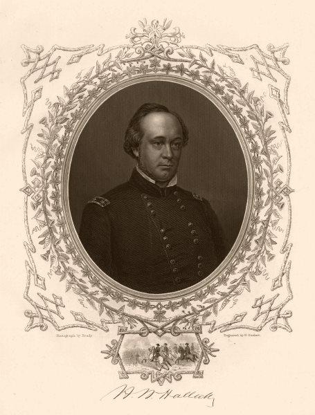 Associate Product AMERICAN CIVIL WAR. Portrait of General Halleck 1864 old antique print picture