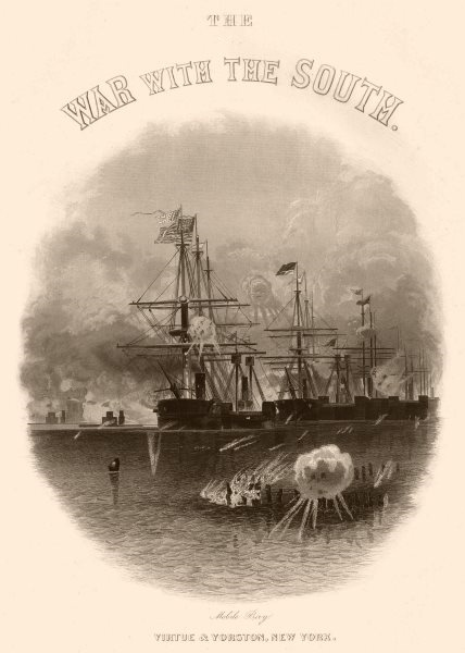 Associate Product AMERICAN CIVIL WAR. Mobile Bay, Alabama 1864 old antique vintage print picture