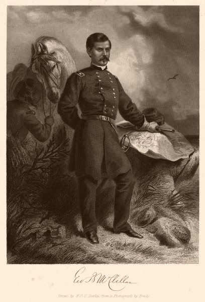 Associate Product AMERICAN CIVIL WAR. Portrait of General G.B. Mcclellan 1864 old antique print