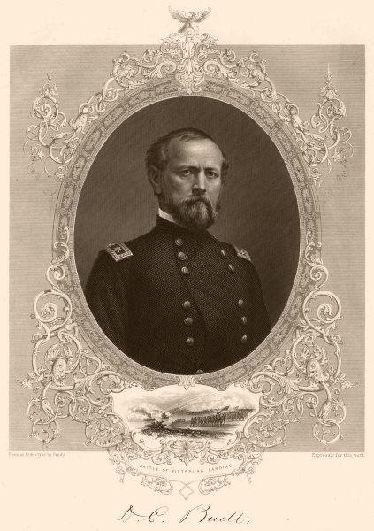 Associate Product AMERICAN CIVIL WAR. General Buell. Inset. Battle of Pittsburg Landing 1864