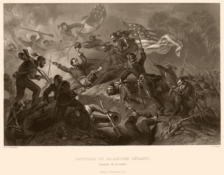 AMERICAN CIVIL WAR. Capture of Roanoke Island Zouaves charge North Carolina 1864
