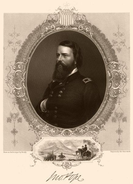 Associate Product AMERICAN CIVIL WAR. General Pope. Inset. Battle of Cedar Mountain 1864 print