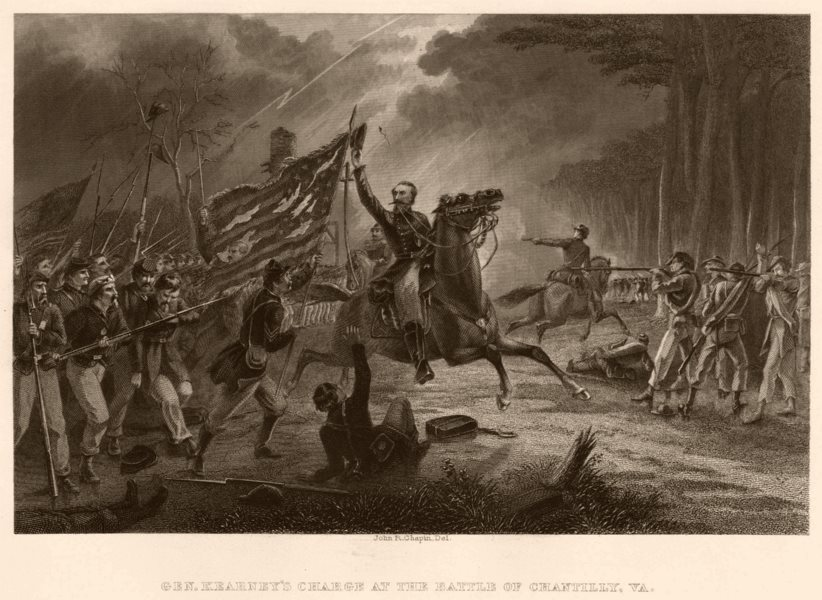 Associate Product AMERICAN CIVIL WAR. Battle of Chantilly, Virginia. General Kearney's charge 1864