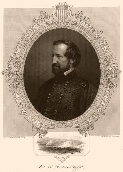 Associate Product AMERICAN CIVIL WAR. General Rosecrans. Inset. Battle of Murfreesboro 1864